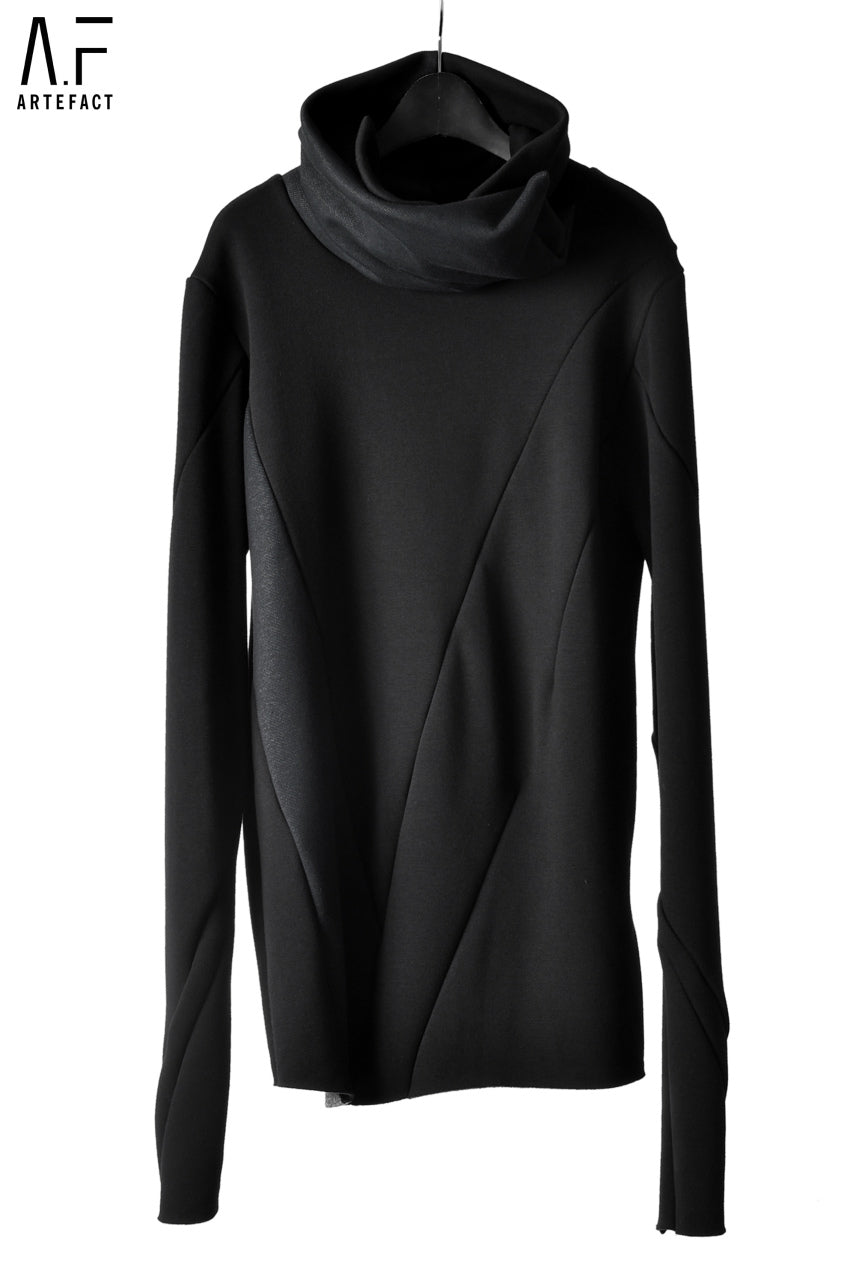 A.F ARTEFACT exclusive BomberHEAT® HIGHNECK WRAP TOPS (BLAC×BLACK WEAVE)