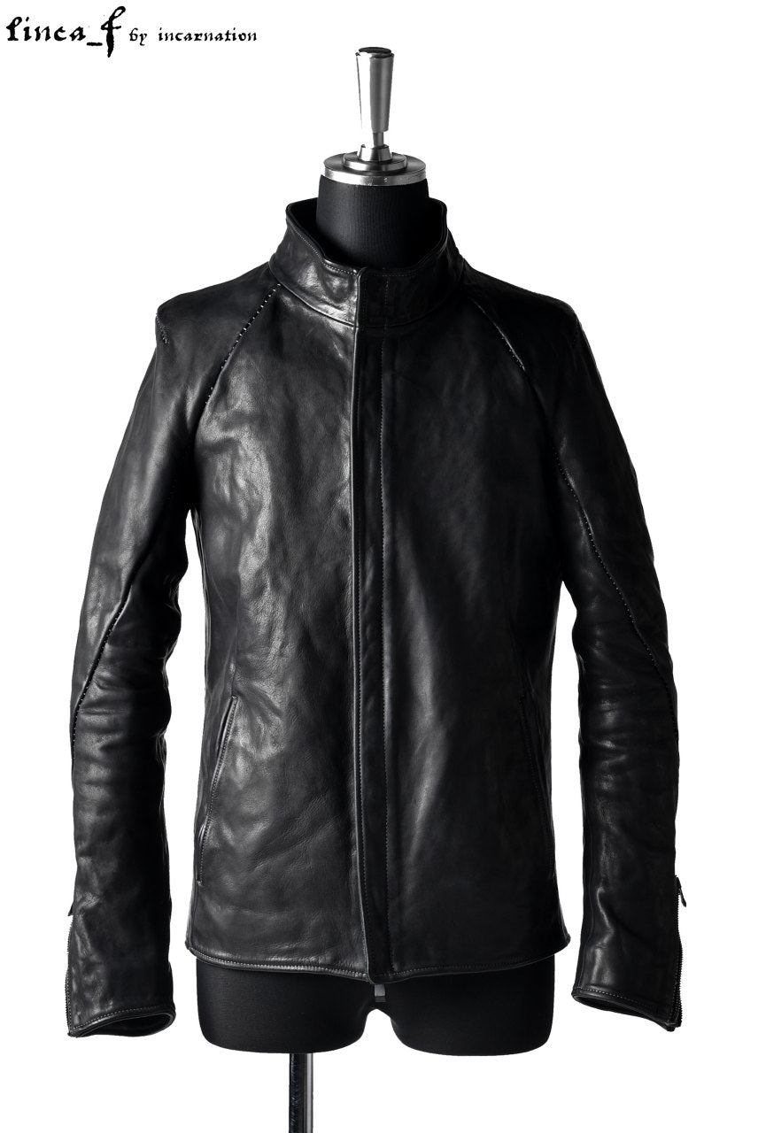 linea_f by incarnation 1.0/1.1mm Heavy Calf Leather Jacket (BLACK)