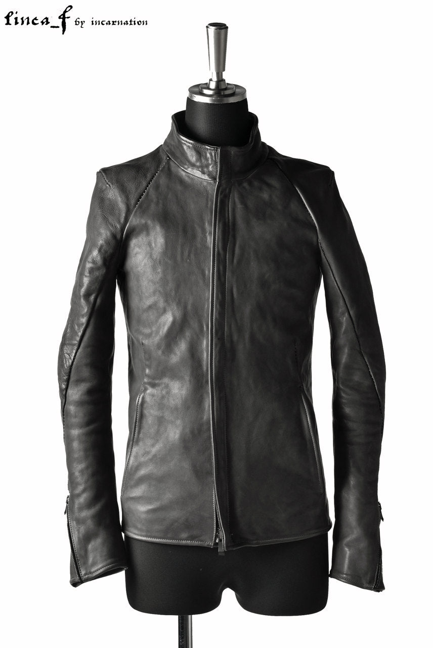 linea_f by incarnation 1.0/1.1mm Heavy Calf Leather Jacket (GREY)