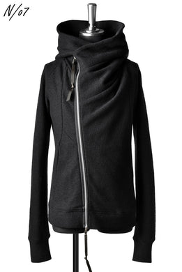 N/07 Wrap Hooded Jacket / Woolring Fleece (BLACK)