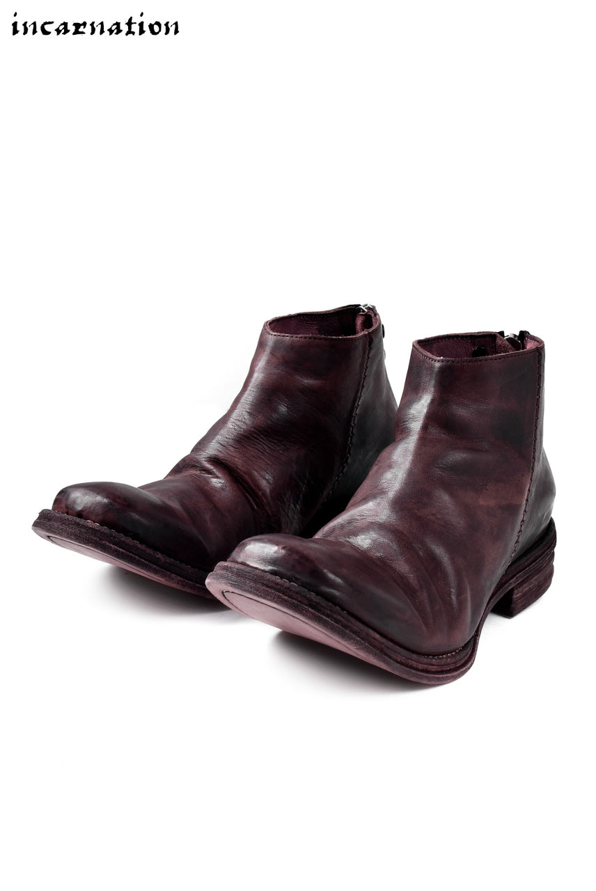incarnation exclusive HORSE LEATHER BACK ZIP SHORT BOOTS / HAND DYED