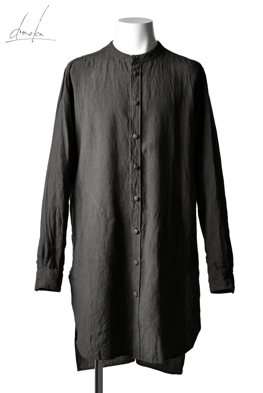 daska (johan) long shirt / linen natural (BROWN)