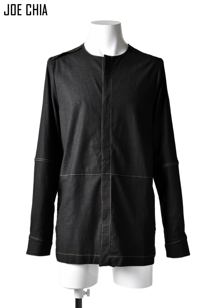 JOE CHIA STITCHED DETAIL SHIRT / Elastic-Linen, Viscose (BLACK)