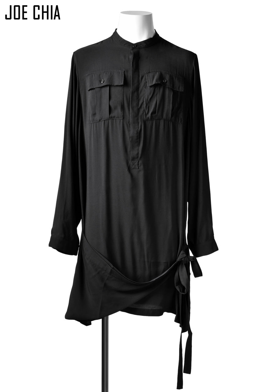 JOE CHIA WRAPAROUND SHIRT TOP / Bamboo Fabric (BLACK)