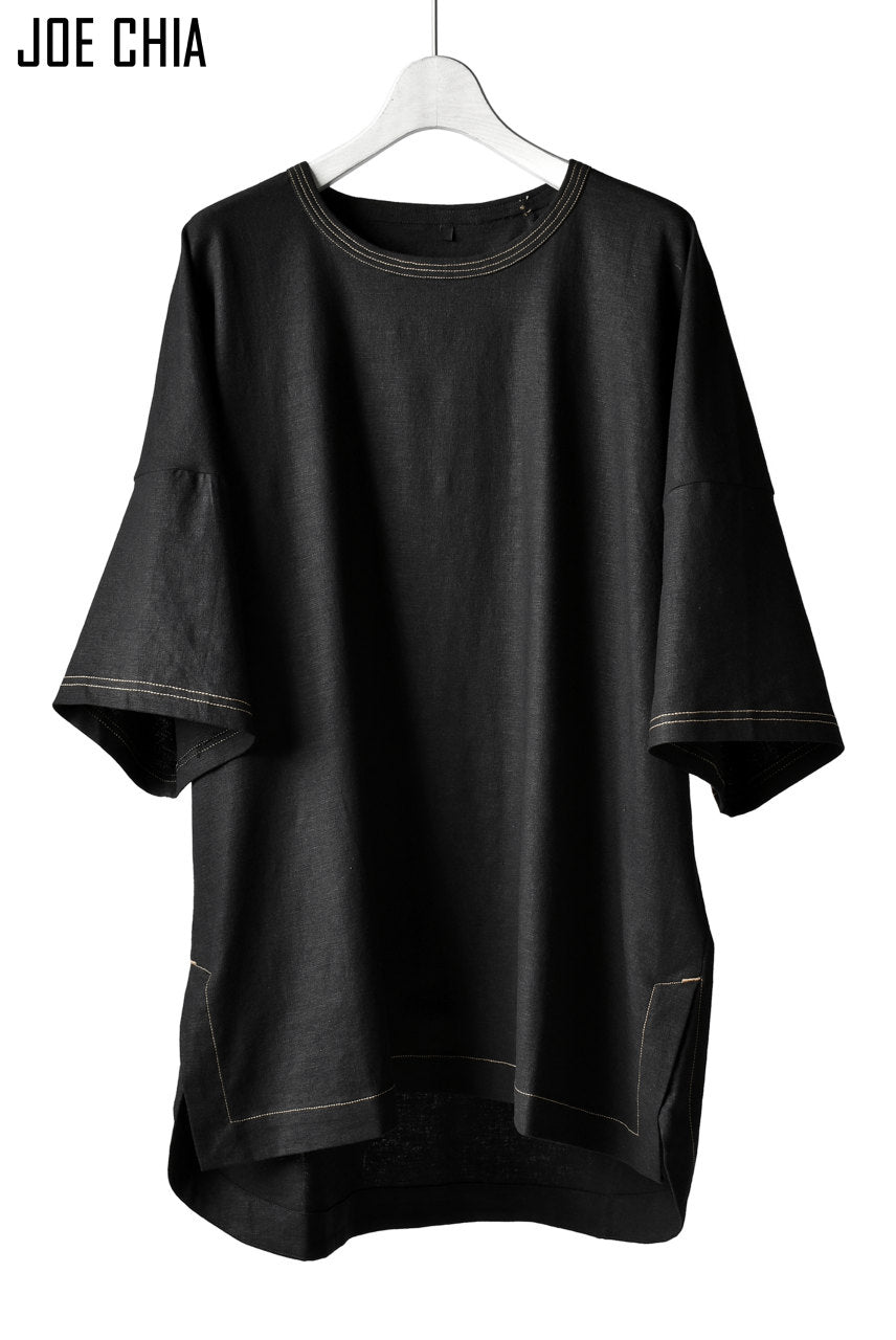 JOE CHIA STITCH DETAIL OVERSIZED PANEL TOP / Elastic-Linen, Viscose (BLACK)