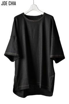 画像をギャラリービューアに読み込む, JOE CHIA STITCH DETAIL OVERSIZED PANEL TOP / Elastic-Linen, Viscose (BLACK)