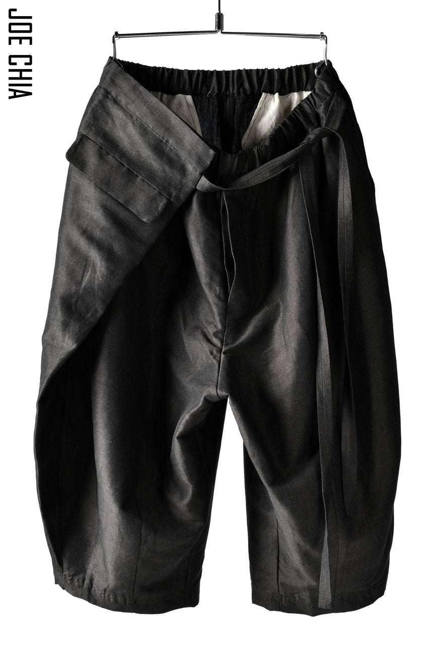 JOE CHIA WRAP AROUND PANTS / Lux-Linen & Cotton (DARK BROWN)