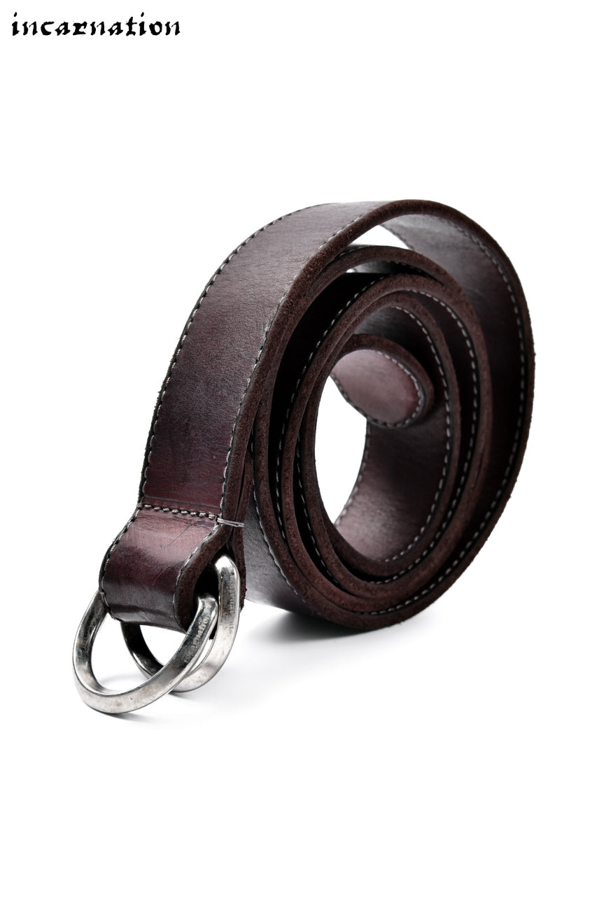 "incarnation exclusive CALF LEATHER NARROW BELT with DOUBLE ""D"" RINGS (BORDEAUX)"