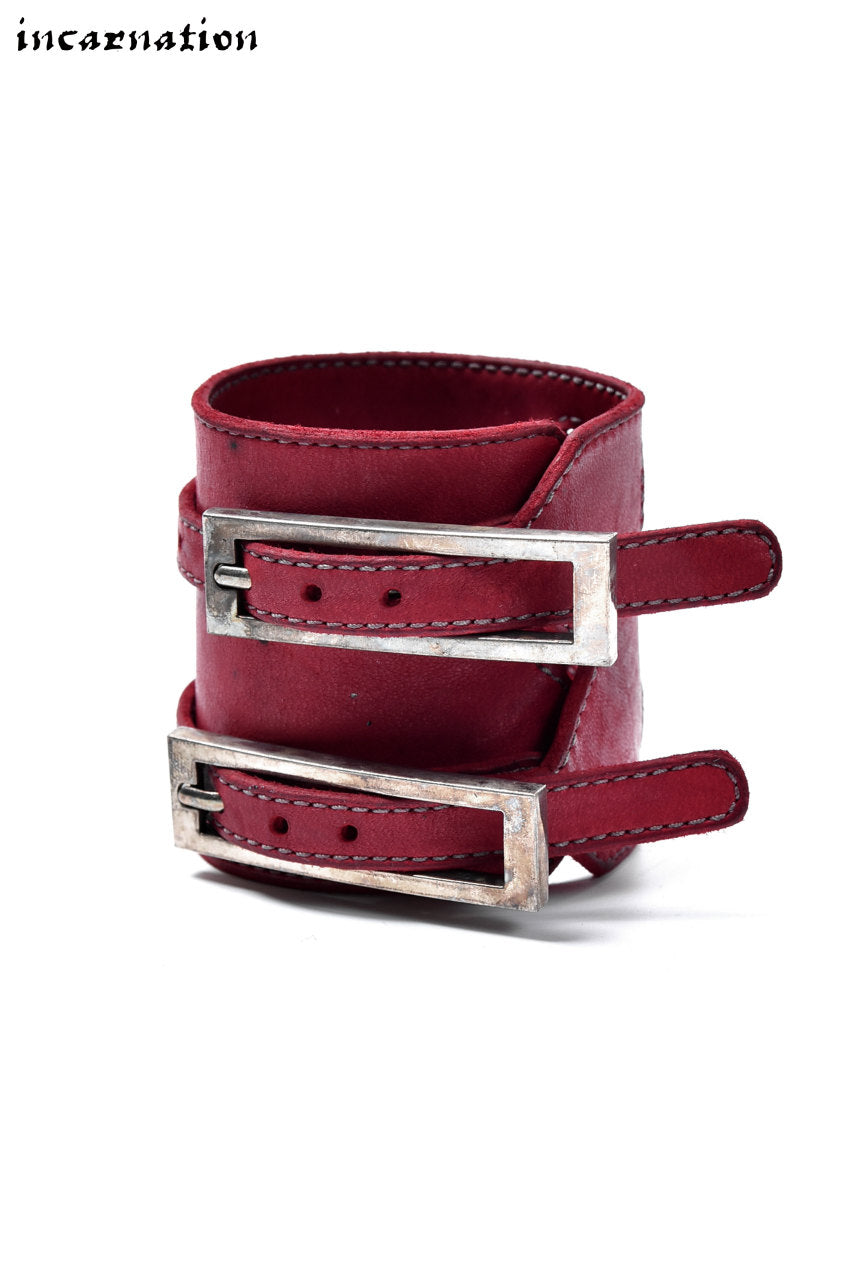 Load image into Gallery viewer, incarnation HORSE LEATHER BRACELET with DOUBLE BUCKLES (RED)
