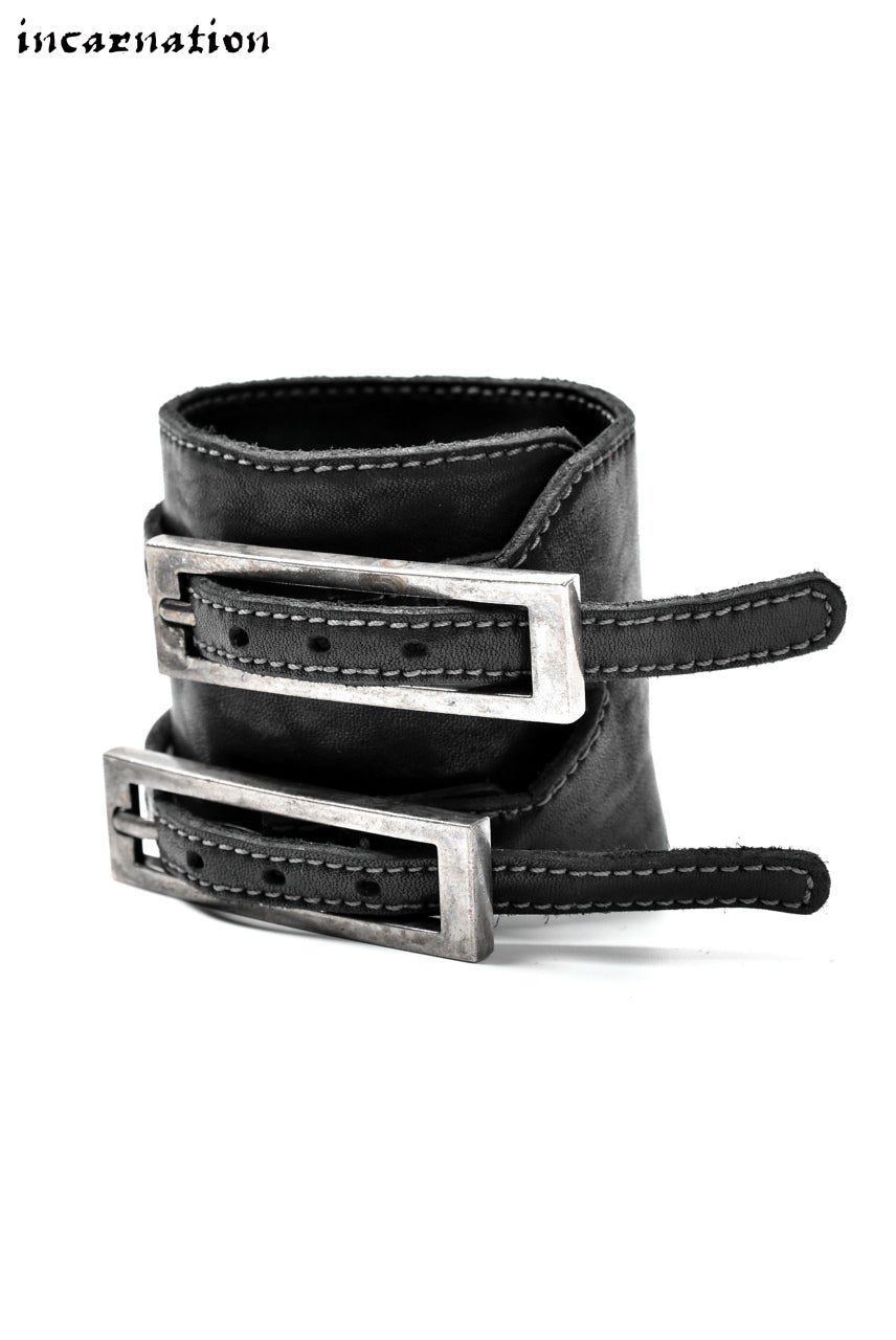 incarnation HORSE LEATHER BRACELET with DOUBLE BUCKLES (DARK GREY)