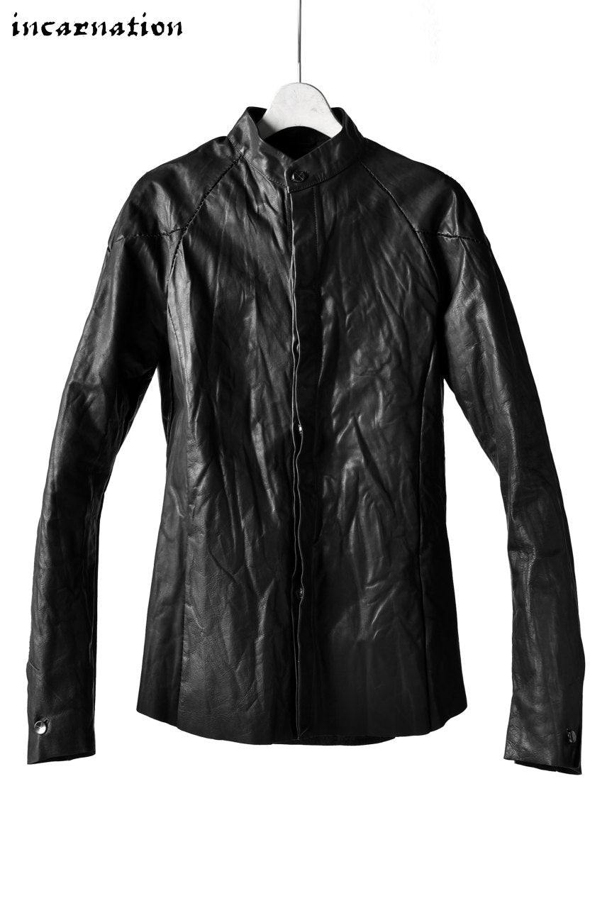 incarnation exclusive CALF LEATHER CONSTRUCTIVE SHIRT