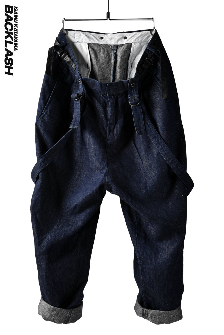 ISAMU KATAYAMA BACKLASH exclusive INDIGO WIDE TAPERED PANTS with SUSPENDER (INDIGO)