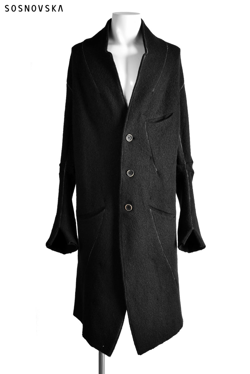 Load image into Gallery viewer, SOSNOVSKA exclusive SOFT STITCHED COAT (BLACK)