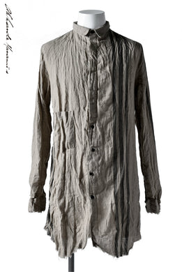 Aleksandr Manamis DARK SAND STRIPE LONG SHIRT