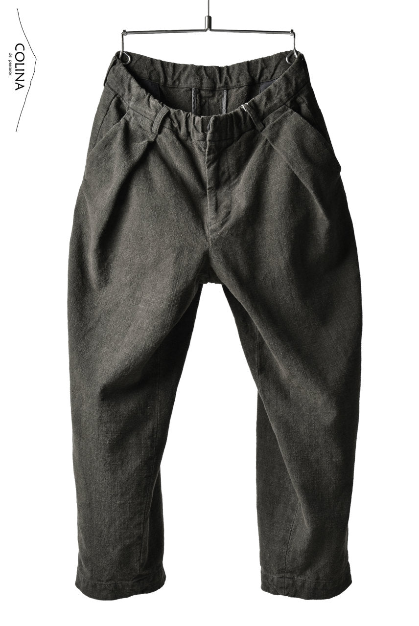 Load image into Gallery viewer, COLINA DOUBLE TUCK WIDE TAPERED PANTS / HAND SPUN CANVAS (SUMI KHAKI)