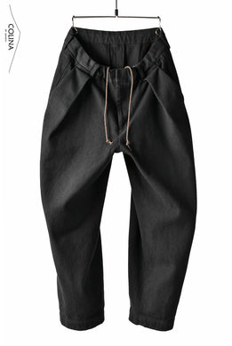 COLINA DOUBLE TUCK WIDE TAPERED PANTS / SASHIKO (BLACK)