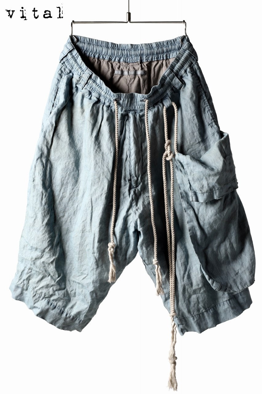 Load image into Gallery viewer, _vital exclusive dropcrotch shorts with hanging pocket / linen indigo dyed