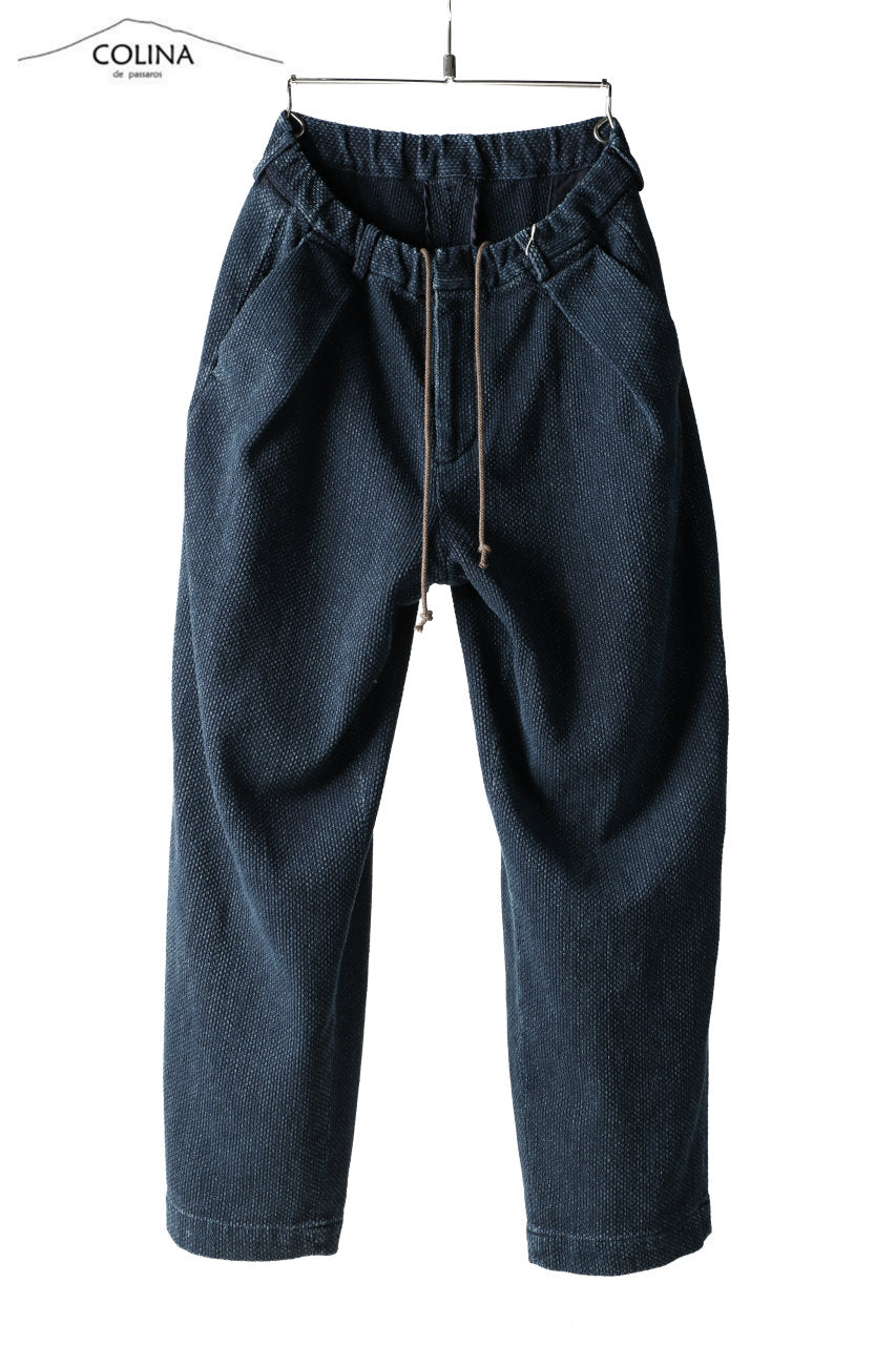COLINA DOUBLE TUCK WIDE TAPERED PANTS / SASHIKO (INDIGO)