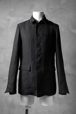 blackcrow shirt-collar 5B jacket / hemp (black)