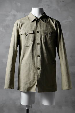 blackcrow worker shirt jacket / cotton woven (BEIGE)