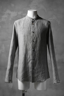 blackcrow band collar linen check shirt / sumi dyed (carbon)