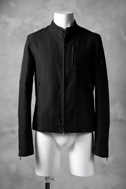 blackcrow riders zip jacket / linen&nylon woven (black)