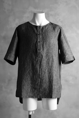 N/07 exclusive Henley Tunica Top [ Pure Linen Weave ] (BLACK)