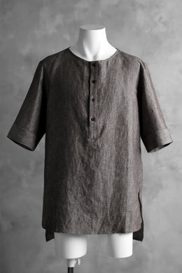 N/07 exclusive Henley Tunica Top [ Pure Linen Weave ] (BROWN)