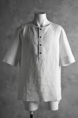 N/07 exclusive Henley Tunica Top [ Pure Linen Weave ] (WHITE)
