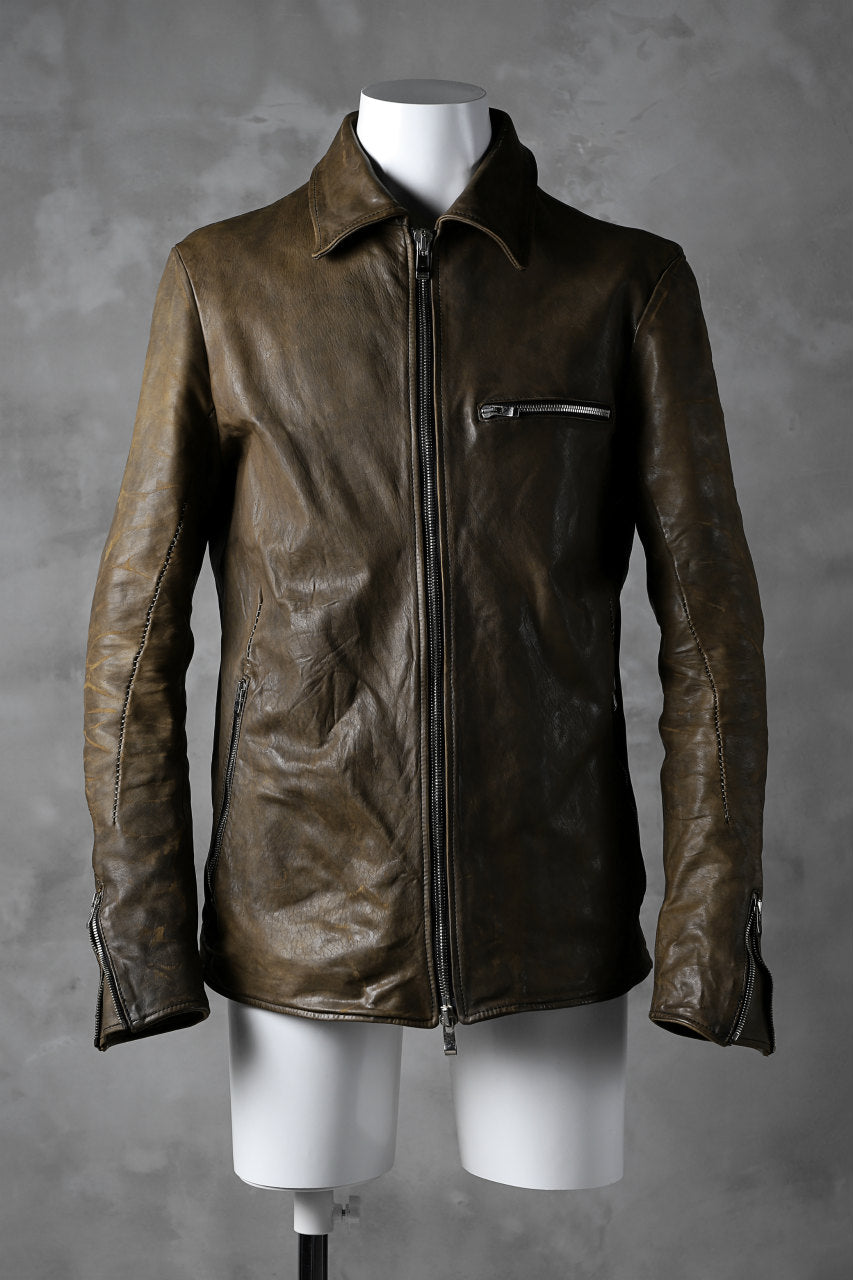 incarnation HORSE LEATHER COLLARED ZIP JACKET / OVERLOCKED (BROWN)