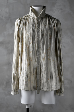 Aleksandr Manamis High Collar Stripe Shirt / Tea Stain Dyed