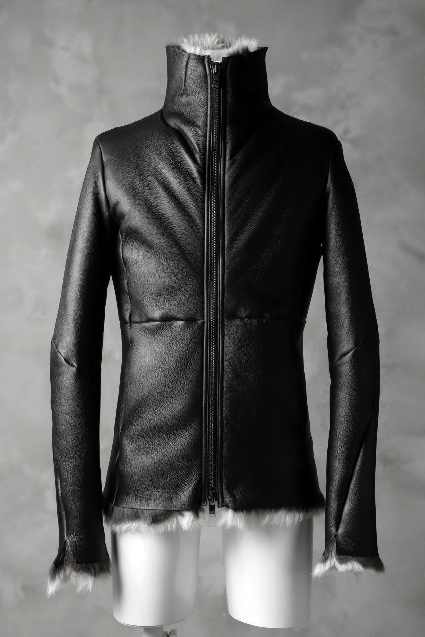 Load image into Gallery viewer, incarnation exclusive SHEEP SHEARLING MOUTON BLOUSON / HIGH NECK ZIP & SPIRAL ARM (BLACK×WHITE)