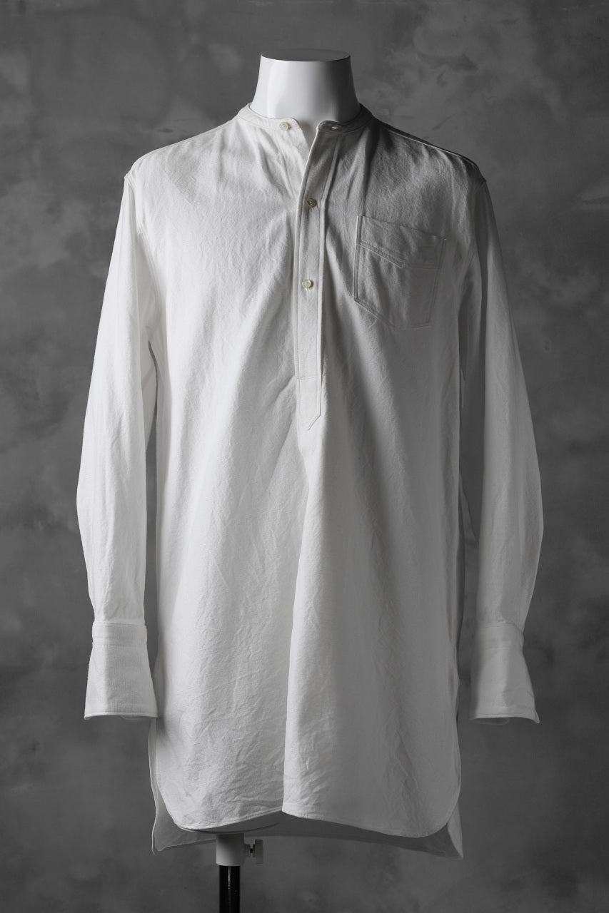 Load image into Gallery viewer, sus-sous band collar shirt #HOKKOH / C100 3/2 OX (WHITE)