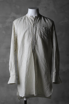 画像をギャラリービューアに読み込む, sus-sous band collar shirt / W52L48 Herringbone stripe (NATURAL×NAVY)
