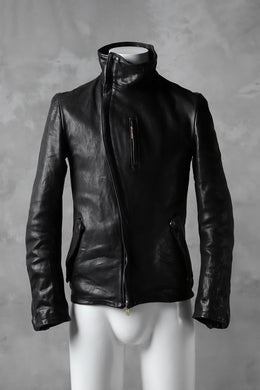 ierib exclusive high neck curved zip jacket / oiled horse leather (BLACK)