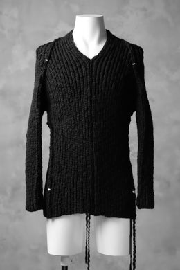 CEDRIC JACQUEMYN  RIB KNIT KIMONO V-NECK JUMPER / VIRGIN WOOL (BLACK)