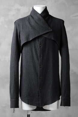 CEDRIC JACQUEMYN  L/S SPLIT FRONT SHIRT / VIRGIN WOOL (GREY)