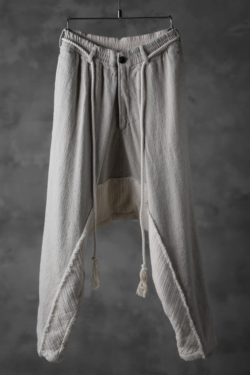 _vital drop crotch tapered pants / combi color linen