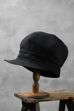 der antagonist. HAND CRAFTED CASQUETTE / COTTON CANVAS (BLACK)