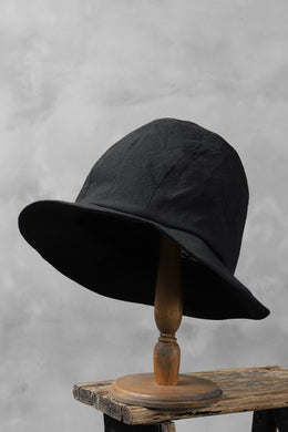 der antagonist. HAND CRAFTED HAT  / COTTON CANVAS (BLACK)