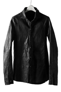 incarnation exclusive KANGAROO LEATHER FRY FRONT BTN SHIRT / OVER LOCKED (BLACK)