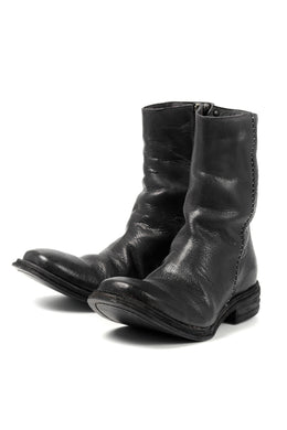 incarnation exclusive BUFFALO LEATHER HAND STITCH SIDE ZIP BOOTS (BLACK)
