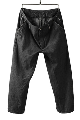 incarnation LONG DARTS CROPPED PANTS / ONE WASHED 6.5oz SELVEDGE CHAMBRAY (GREY)