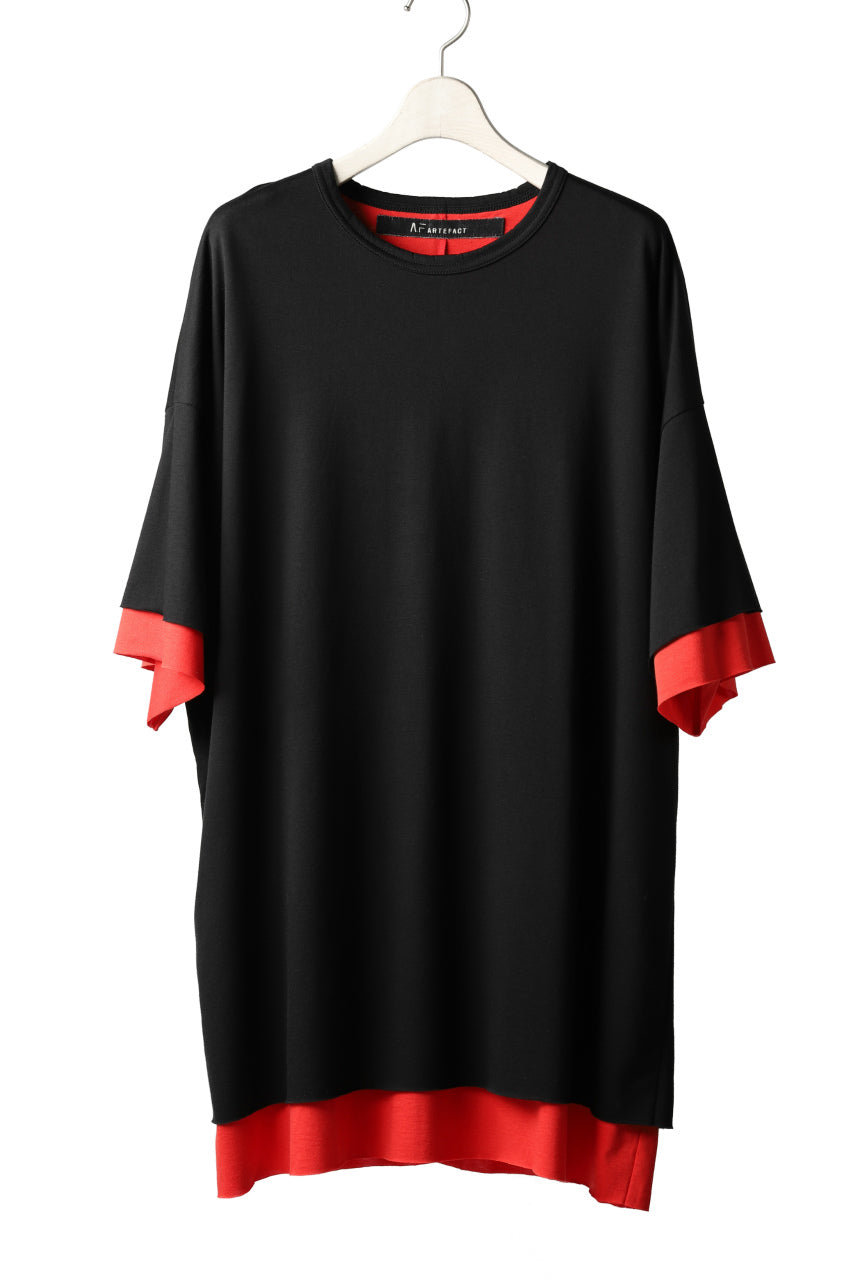 A.F ARTEFACT exclusive OVER SIZED LAYERED TEE (BLACK xRED)