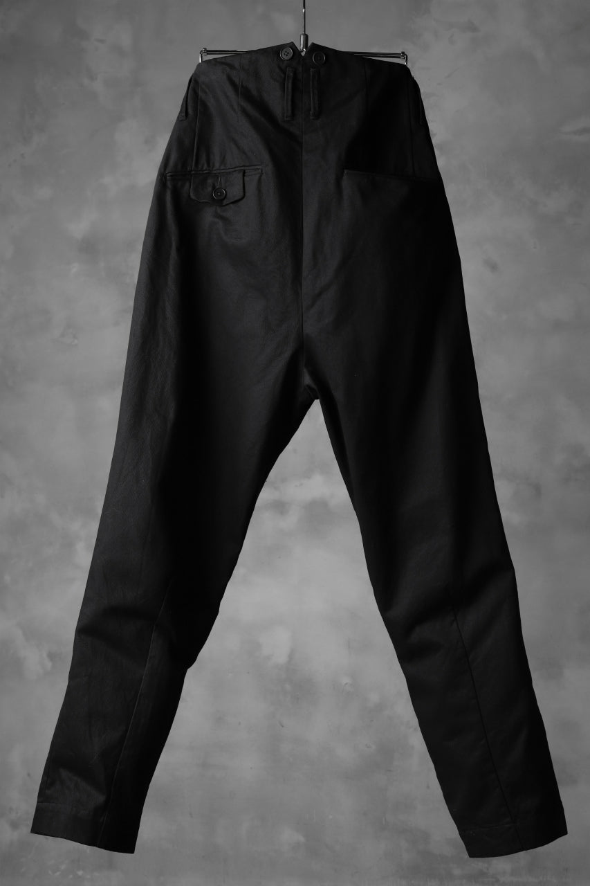 KLASICA MORROW HIGH RISE 3 TUCKED TAPERED TROUSERS / CHINO CLOTH (BLACK)