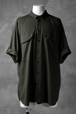 KLASICA LOOSE HALF SLEEVE SHIRT / DOUBLE VOILE CLOTH (GARMENT WASHED) (OLIVE)