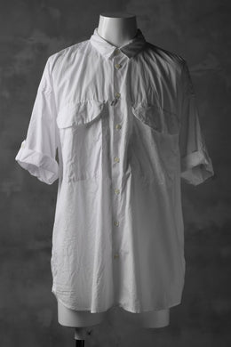 KLASICA LOOSE HALF SLEEVE SHIRT / BROAD CLOTH (GARMENT WASHED) (WHITE)