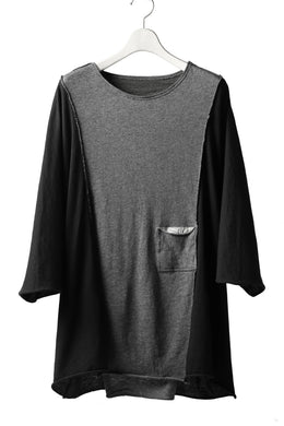 daska reversible dolman oversized tops / sumi dyed (BLACK-GREY)