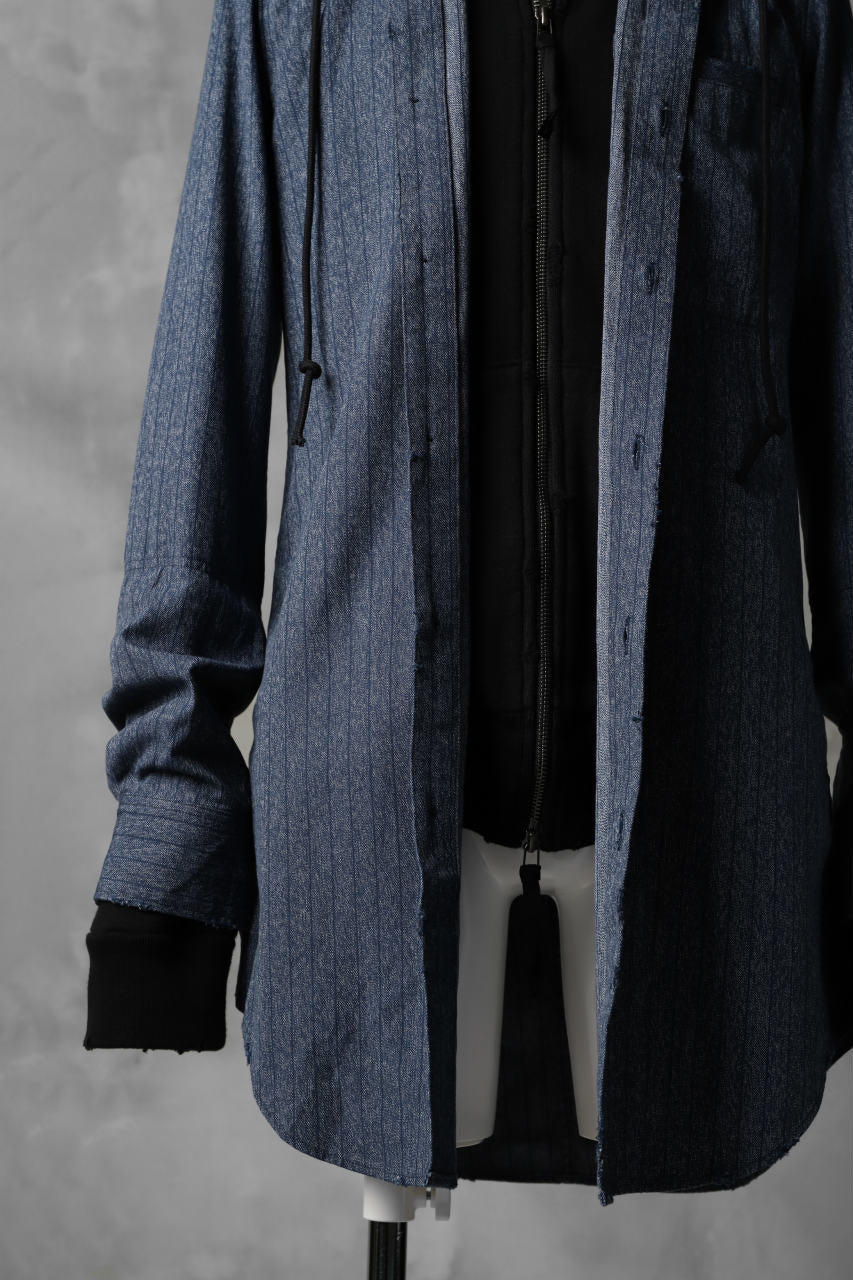 N/07 exclusive Combined Shirt-Jacket [ Stripe Denim×Fleecy Cotton ] (INDIGO STRIPE x BLACK)
