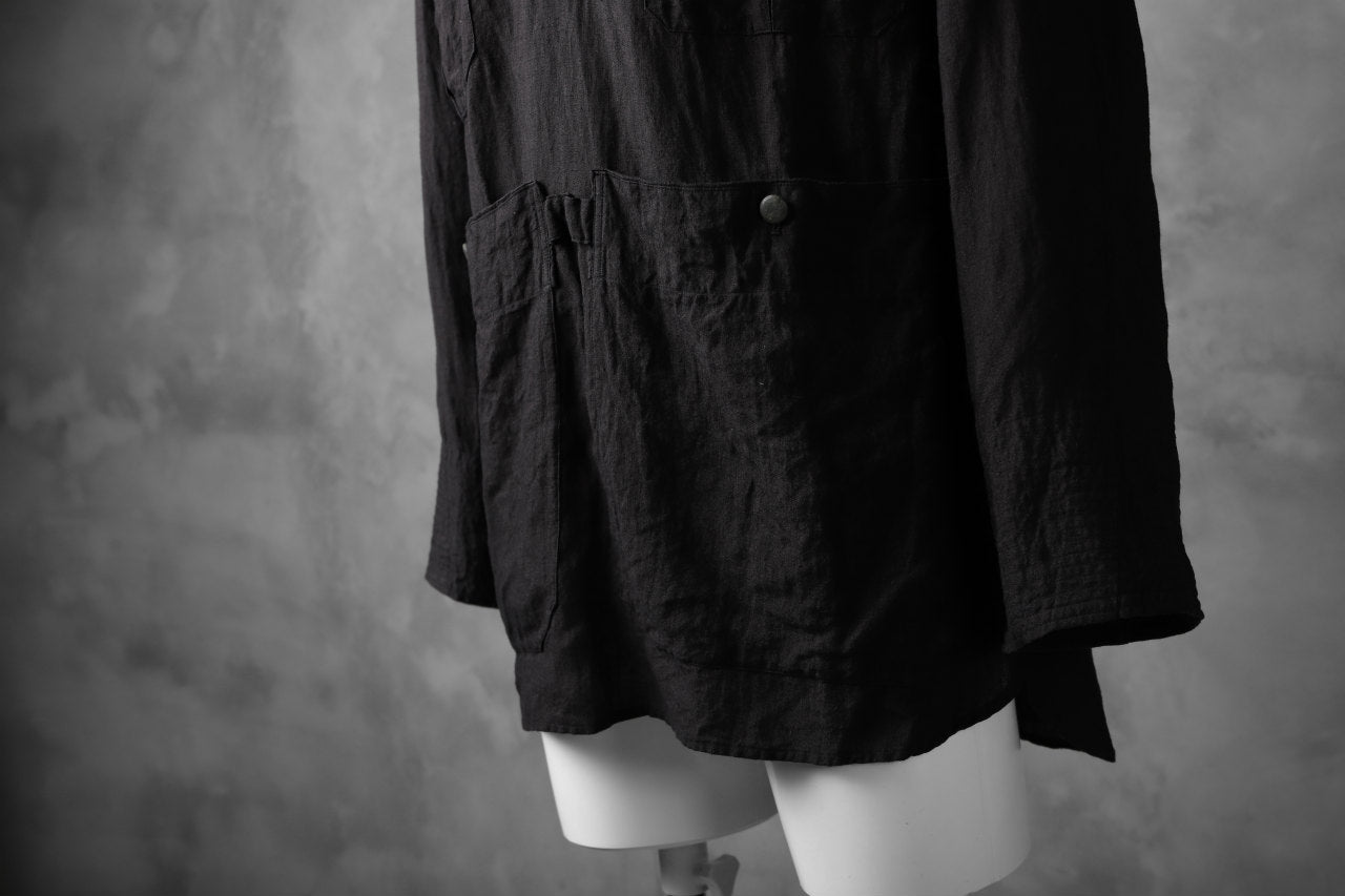 "daska ""vincent"" painter-smock shirt / light linen (BLACK)"